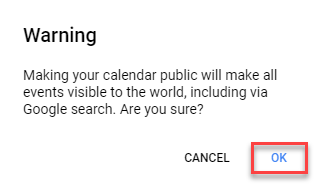"Make a Google Calendar ""public"" and get the Calendar ID"